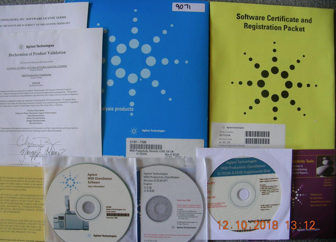 Agilent MSD Productivity Chemstation G1701DA D 03 01 incl  licen