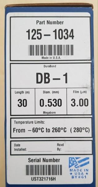 125-1034 DB-1 GC-Säule 30m, 0.53mm, 3.0µm