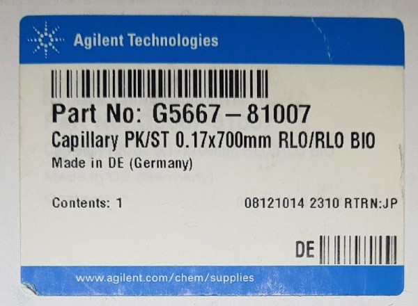 G5667-81007 Kapillare PEEK, edelstahlummantelt, Bio-Inert, 0.17 x 700mm