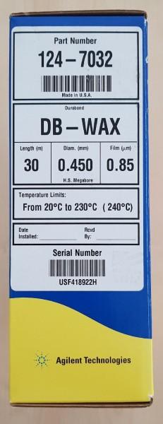 124-7032 J&W DB-WAX, 30m, 0.45mm, 0.85µm