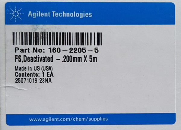 160-2205-5 Fused silica tubing, deactivated, 5 m, 0.2 mm id, 0.36 mm od
